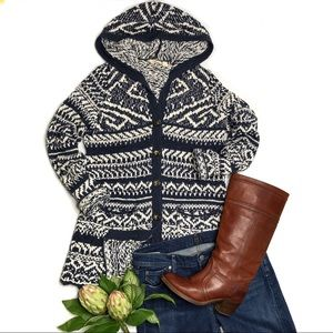 Lucky Brand Navy & White Hooded Cotton Cardigan